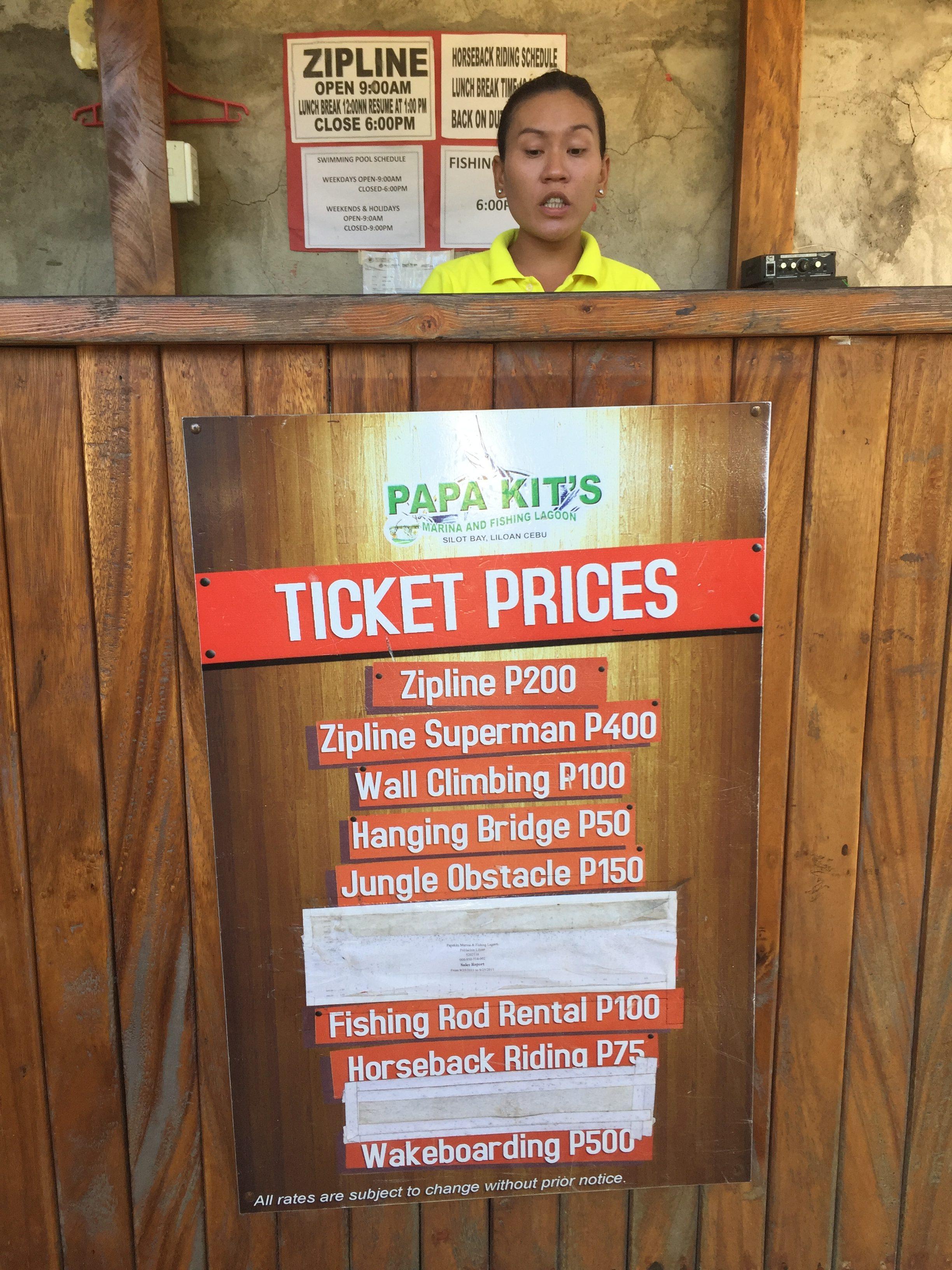 パパキッズのアトラクションの値段表