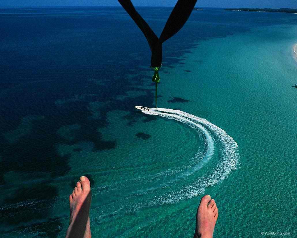 パラセーリングと海