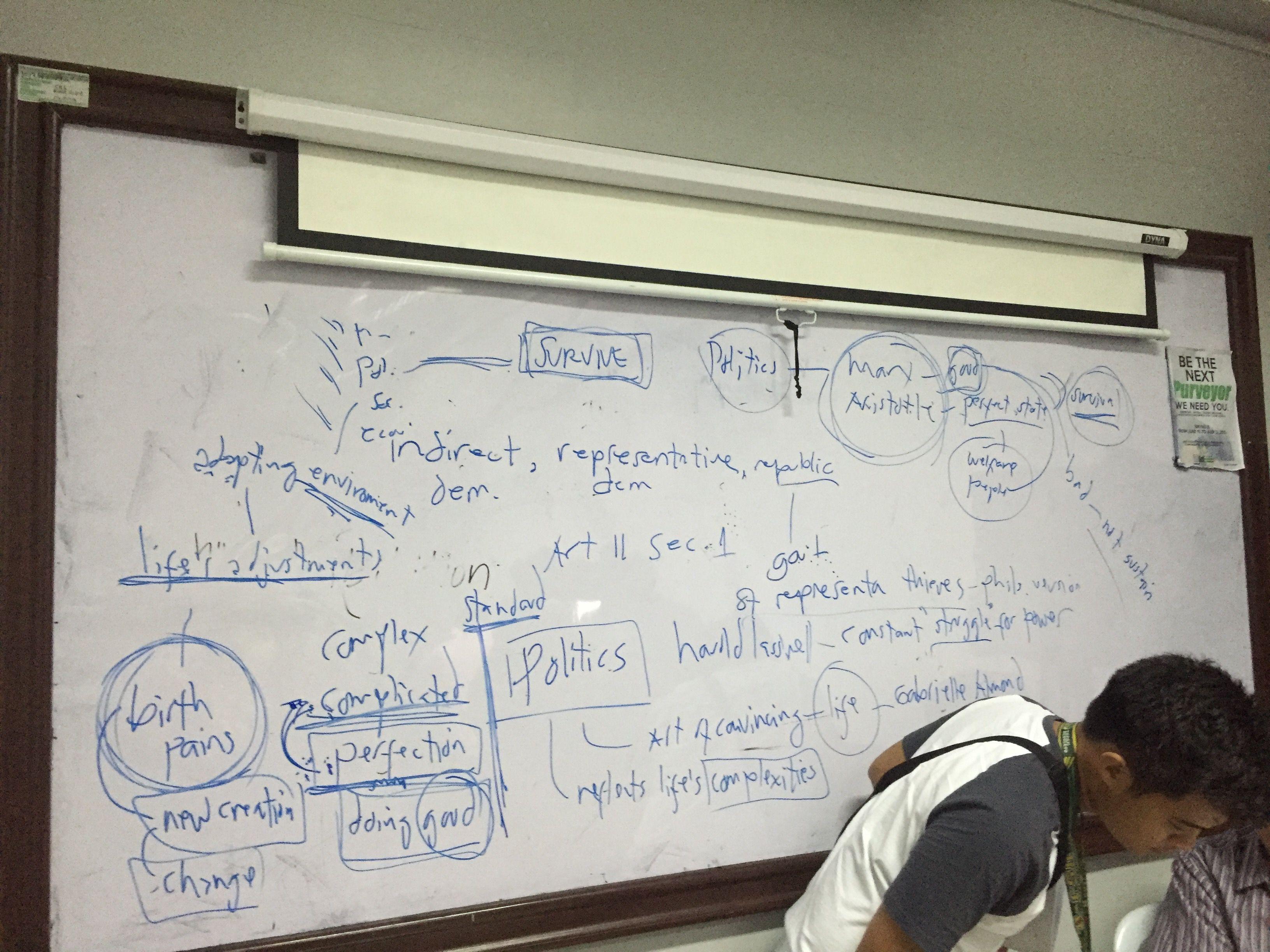 セブの大学の黒板