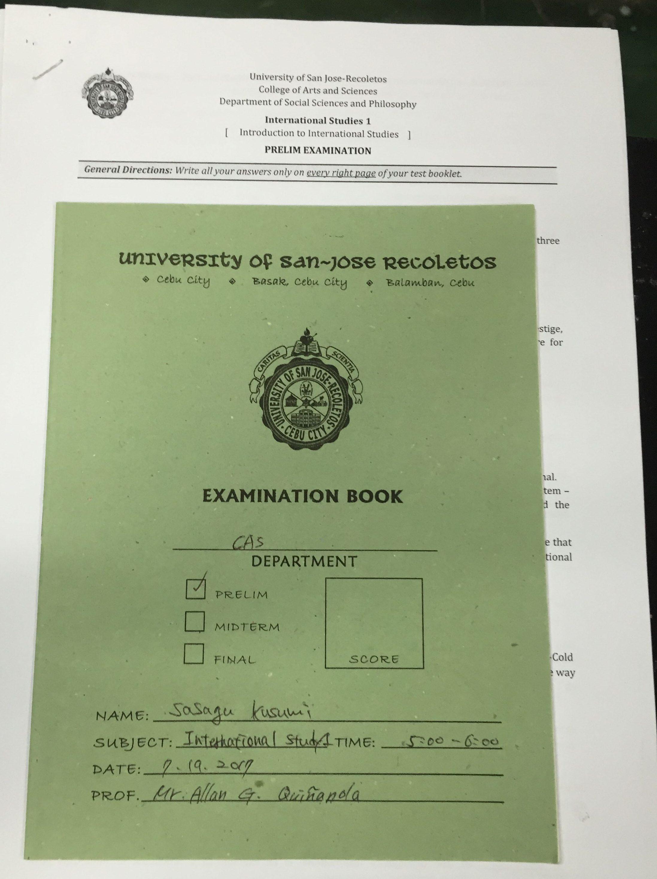 サンホセ大学の試験用紙