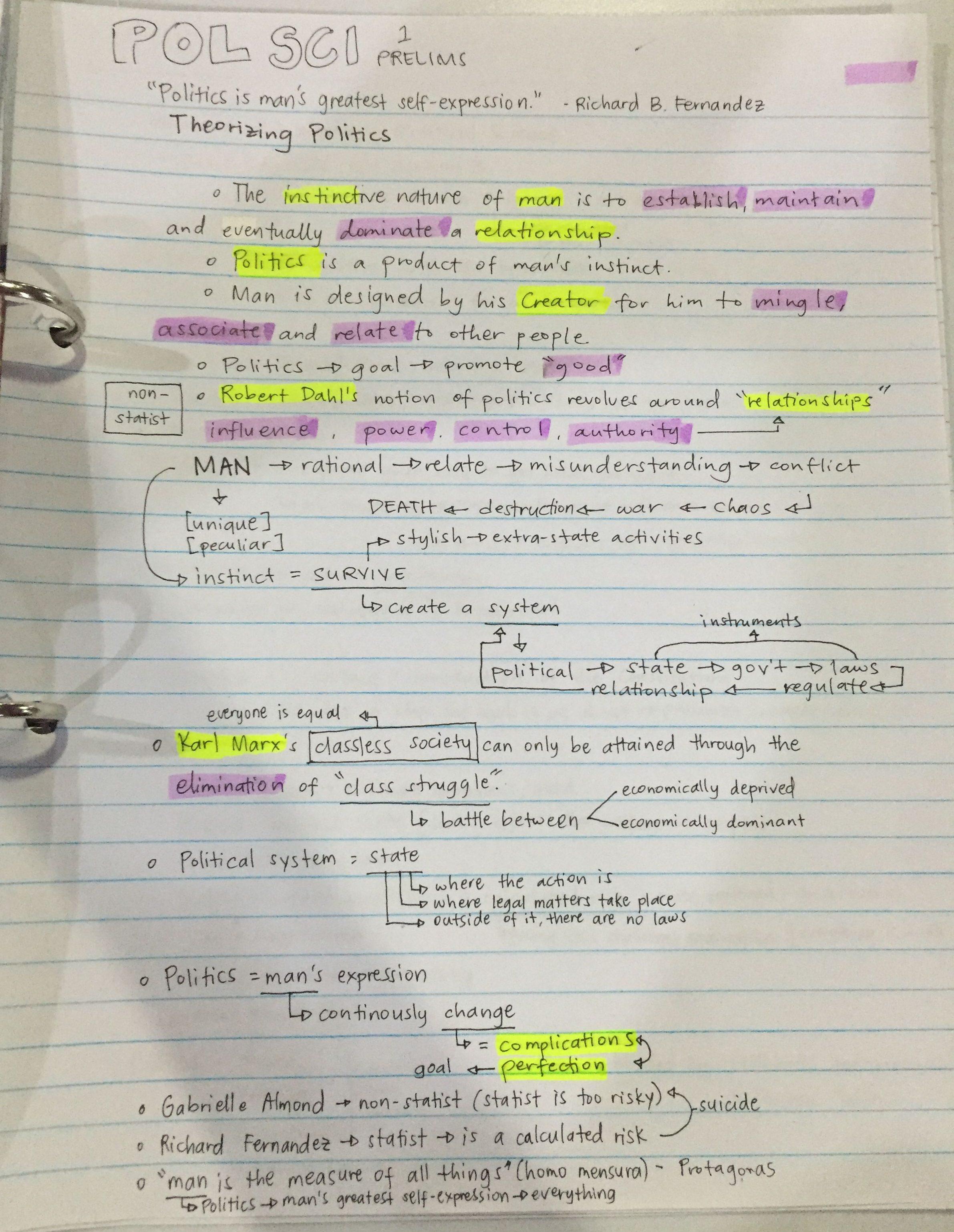 セブの大学に通う大学生のノート