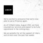 フィリピンでUBER再開・罰金は約10億円
