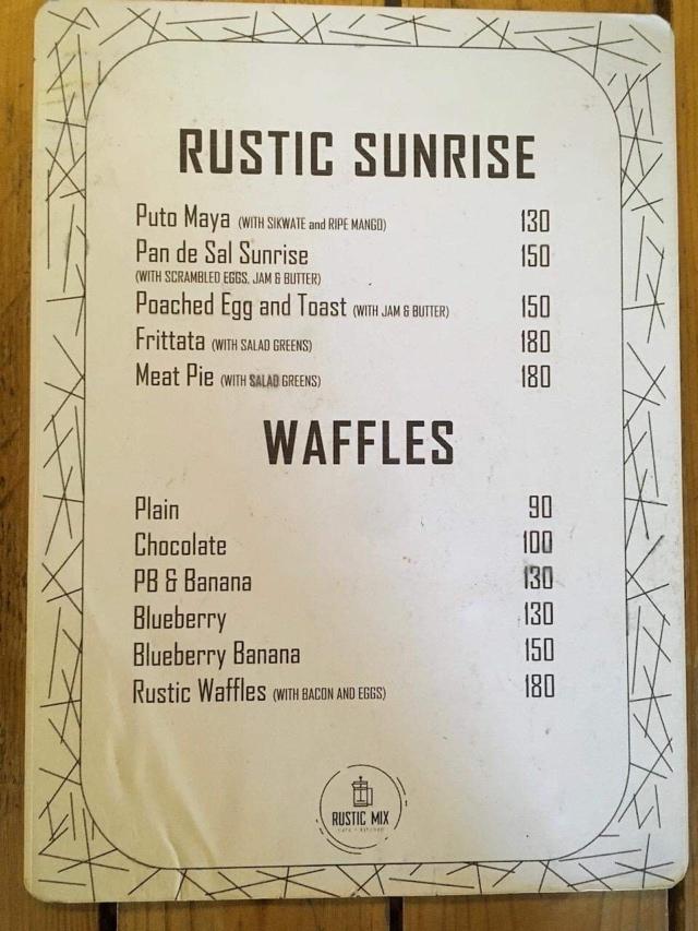 Rustic Mix Cafeのメニュー表
