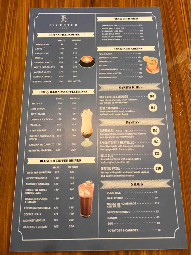 Bicester Cafeのメニュー表