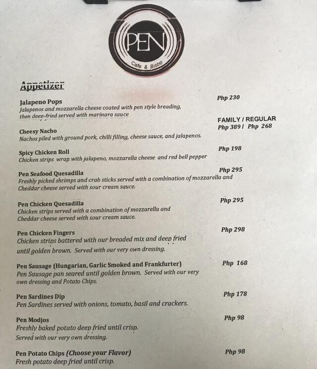 ペンカフェのメニュー表